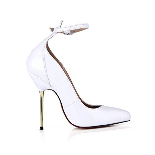 Clic Bianco Nightclub Donna White Ferro Nuovo Fare Tacco Gusto Verniciata Punto Alta In Scarpe Calzature Con Su Pelle Autunno zx1YYwdq