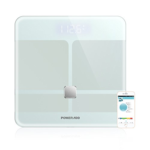 Smart Body Fat Scale,Poweradd Digital Smart Scale, Body Composition Analyzer ITO Technology for Body Weight, Body Fat,Hydration, Bone Mass and Muscle, BMI, BMR Visceral Fat with iOS and Android APP