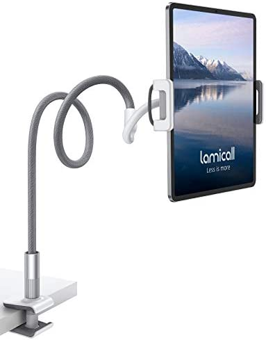 Lamicall Gooseneck Tablet Holder, Universal Tablet Stand – 360 Flexible Lazy Arm Holder Clamp Mount Bracket Bed for 4.7~10.5″ iPad Air Pro mini, Samsung Tab, iPhone, Switch, more Devices – Gray