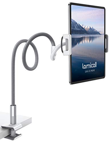 "Gooseneck Tablet Holder, Lamicall Tablet Stand: Flexible Arm Clip Tablet Mount Compatible with iPad Mini Pro Air, Switch, Galaxy Tabs, More 4.7-10.5"" Devices - Gray"