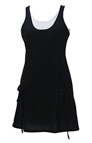 Patchwork Freizeitkleid Tops Rundkragen Taschen Zweiteiler Schwarz Ärmellos Frauen Uni-farben Anzug Sommerkleider Figurbetont Mit Kleid Tank
