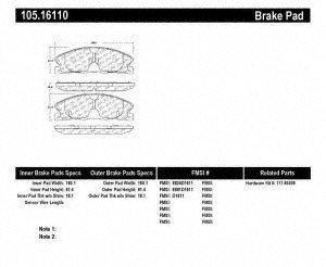 Centric (105.16110) Posi Quiet Brake Pad, Ceramic