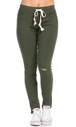 SOHO GLAM Knee Slit Stretchy Drawstring Jogger Pants in Olive