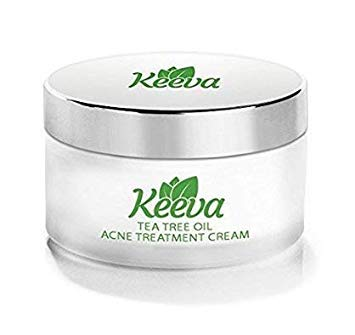 Keeva Organics Acne Treatment Cream With Secret TEA TREE OIL Formula - Perfect For Acne Scar Removal, Fighting Breakouts, Spots, Cystic Acne - See Results in Days Without Dry Skin -