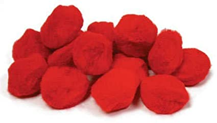 Package of 90 Fluffy Red Craft Pom Poms 1.5 in Diameter for Crafting, Creating and Embellishing Creative Hands