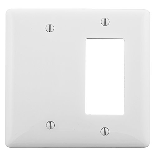Bryant Electric NPJ1326W Wallplate, Nylon, Mid-Sized, 2-Gang, 1 Decorator/GFCI, 1 Blank, White ()