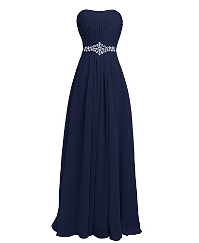 Women Sweetheart Bridesmaid Chiffon Prom Dresses Long Maid of Honor Gown Plus Size Navy Blue US24W