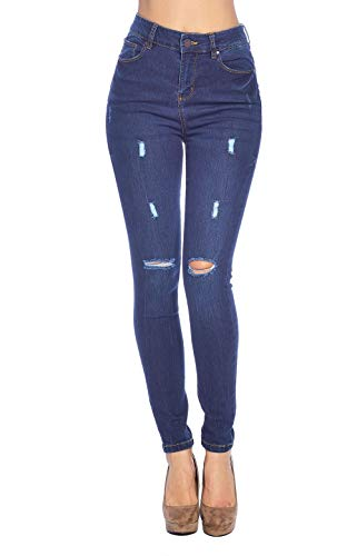 Blue Age Women's High Rise Skinny Jeans Ripped Denim (JP1104_DK_3)