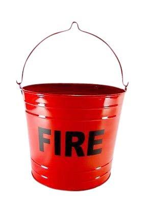 (Fire Bucket Trash Can FLAT BOTTOM RED FIRE PAIL)