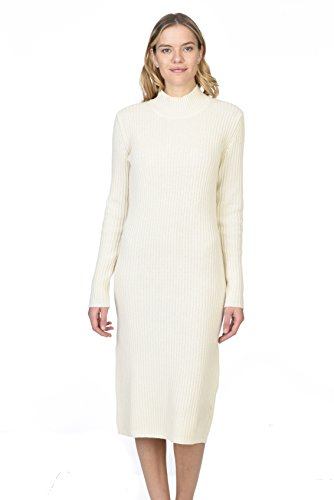 State Cashmere Women's 100% Pure Cashmere Turtleneck Long Sleeve Sweater Dress, Ivory, Small (Signature Sweater Dress)