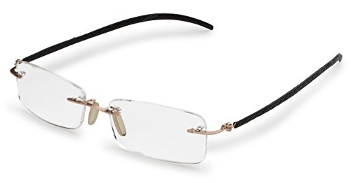 Specs Gold Rimless Reading Glasses with Black Leather Temples-Flexible TR90 Material -Leather Pouch and Cleaning Cloth Included +1.50