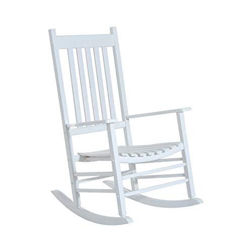 Godyluck Wooden Outdoor Rocking Chair with Wide Seat, Armrests, and Sturdy Slatted Backrest Weight Capacity 350 LBS | White