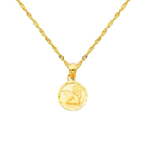 The World Jewelry Center 14k Yellow Gold Religious Angel Pendant with 1.2mm Singapore Chain Necklace - 16