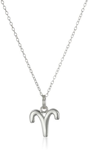 Sterling Silver Aries Zodiac Pendant Necklace, 18