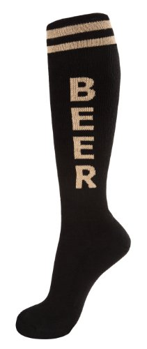Gumball Poodle Knee High Unisex Novelty Statement Socks (Beer - Black & Tan)