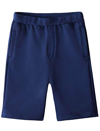 Spring&Gege Boys Casual Soft Cotton Elastic French Terry Jogger Active Pocket Shorts, Navy Blue, 13-14 Years