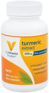 Turmeric Extract 300mg, Standardized Herb That Supports Cellular Health Provides Antioxidant Benefits with 95 Curcumin and 65mg of Calcium 100 Capsules by The Vitamin Shoppe