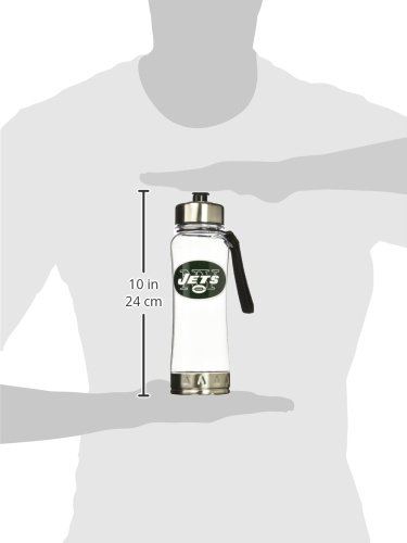 NFL New York Jets 20oz Clip-On Clear Plastic Water Bottle Duck House Sports LWB