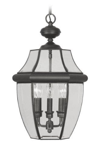 Livex Lighting 2355-04 Monterey 3 Light Outdoor Black Finish Solid Brass Hanging Lantern with Clear Beveled (Monterey Hanging Lantern)