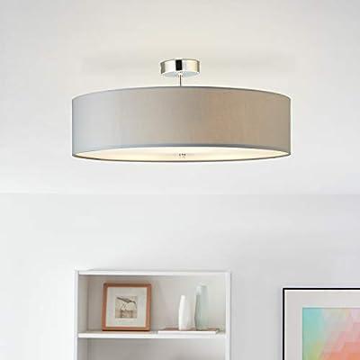 Moderna lámpara de techo con pantalla de tela, 60 cm de diámetro, 3 bombillas E27 máx. 60 W de tela/metal en gris claro/cromo.: Amazon.es: Iluminación
