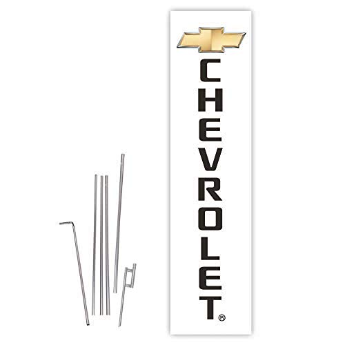 Chevrolet (White) Rectangle Boomer Flag with Complete 15ft Pole kit and Ground Spike