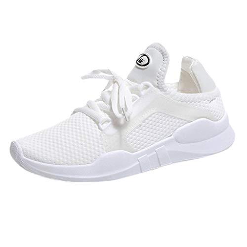 Women's Lightweight Walking Shoes Breathable Mesh Sport Shoes Lace-up Sneakers White (Footwear Bone Light)