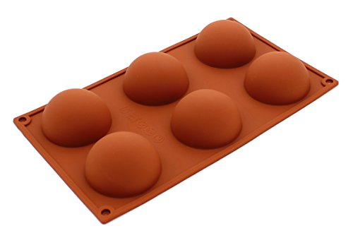Zicome 6 Cavities Large Half Circle Silicone Delicate Chocolate Desserts, Ice Cream Bombes, Cakes, Soap Making Mold