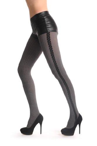 引き潮枕モルヒネWoven Grey With Black Twisted Side Seam 80 Den - Gris Opaque Collants Taille Unique (34-42)