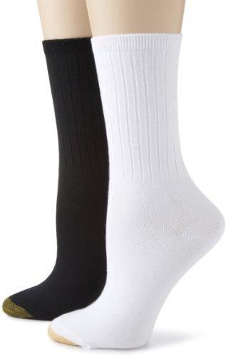 Gold Toe Women's 6 Pack Ribbed Crew,Black/White,Sock Size:9-11/ Shoe Size: 6-9 (Crew Socks Toe Stretch)