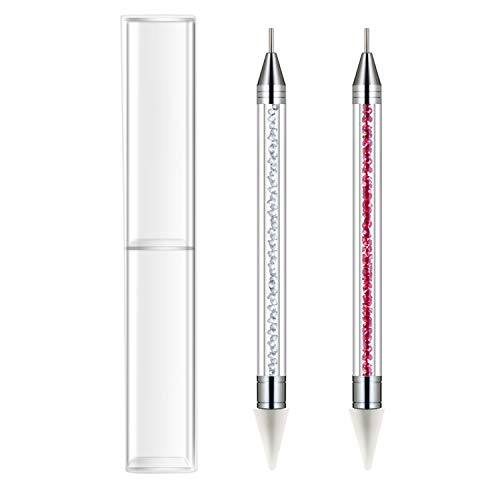 Favourde 2 Pieces Rhinestone Picker Dotting Pen, Dual-ended Rhinestone Gems Crystals Studs Picker Wax Pencil Pen Crystal Beads Handle Manicure Nail Art Gem Pick Up Tool