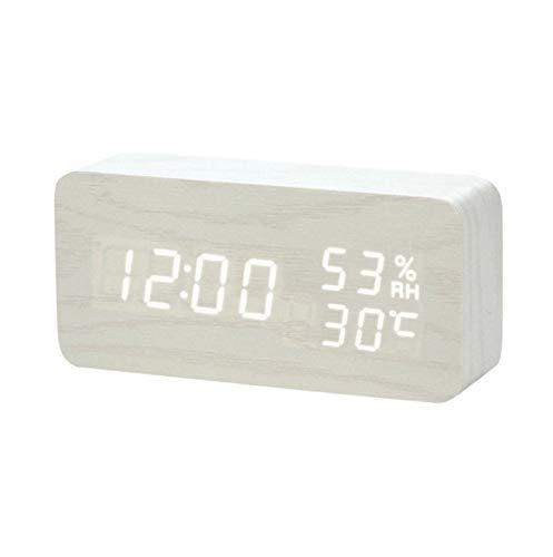 Reloj Despertador De Madera Led Despertador Temperatura Humedad ...