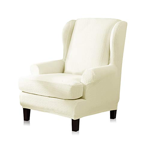 (TIKAMI Wingback Chair Cover Slipcover 2-Piece Stretch Wing Chair Cover Armchair Slipcovers Sofa Cover Furniture Protector(Pale Yellow))