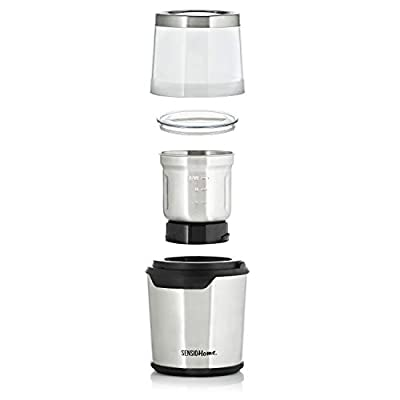 Sensio Home Coffee Grinder | Electric Coffee Bean and Spice Grinder Machine | Two Detachable 2.8 Ounce Capacity Cups for Wet and Dry Food | 200 Watts