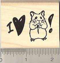 I love my Hamster Rubber Stamp