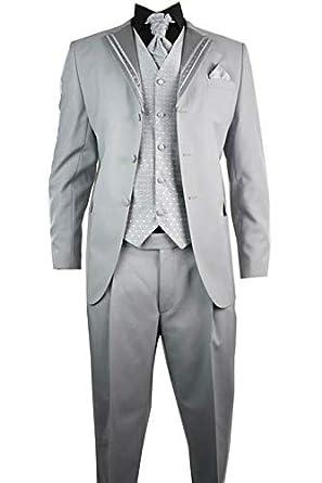 Herren Hochzeit Anzug 4 Teilig Slim Fit Grau Mit Silber Streifen