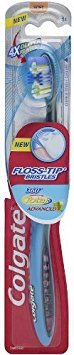 (Colgate 360 Total Advanced Floss-Tip Bristle Toothbrush, Full Head Soft Pack of 2)