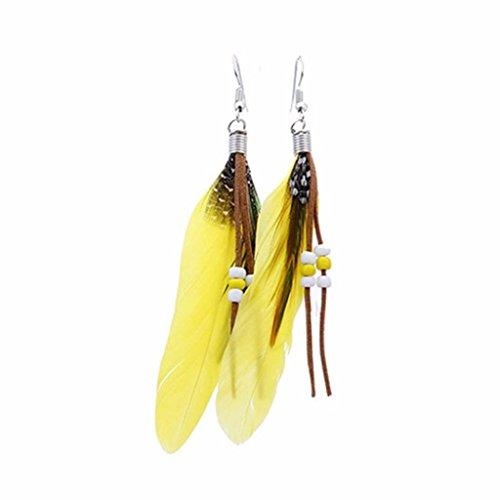 Iuhan Bohemian Style Bead Tassel Feather Earrings Fashion Feather Chain Dangle Earring (Yellow Heart Style Birthstone Earrings)