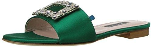 SJP by Sarah Jessica Parker Women's Grace Jeweled Slide Flat Sandal, Emerald Satin, 38.5 B EU (8 ()