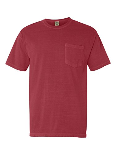 Pigment-Dyed Short Sleeve Shirt with a Pocket, Color: Crimson, Size: Large (Mens Pigment)