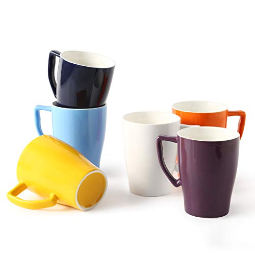 Porcelain Mug 15 Ounce Mug for Coffee Tea or Latte, 6 Bright Color Set, Ceramic Mug Set ()