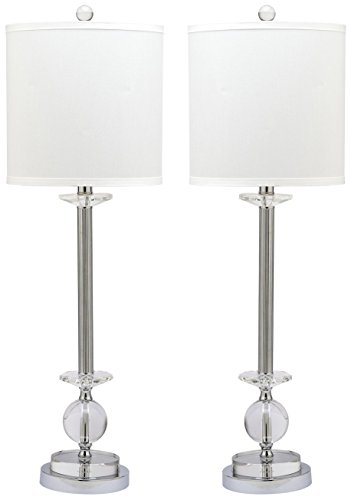 Chrome Candlestick - Safavieh Lighting Collection Marla Crystal Candlestick 31-inch Table Lamp (Set of 2)