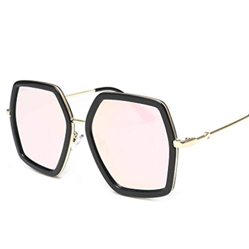 Oversized Square Sunglasses, Huazi2 Women Vintage UV Protection Irregular Brand Pink (Pink Wine Glasses Riedel)