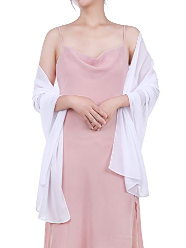 Boao Women Satin Scarves Long Shawl Wrap Light Soft Sheer Scarf Wedding Party Everyday Accessory White