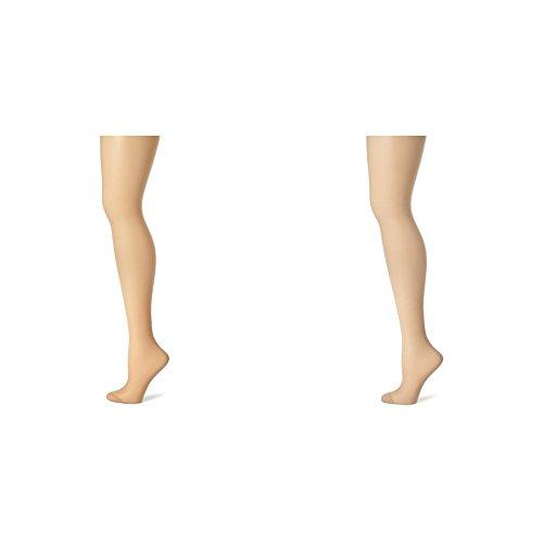 (Hanes Women's 2 Pack Control Top Reinforced Toe Silk Reflections Panty Hose, Café A Lait/Nude,)