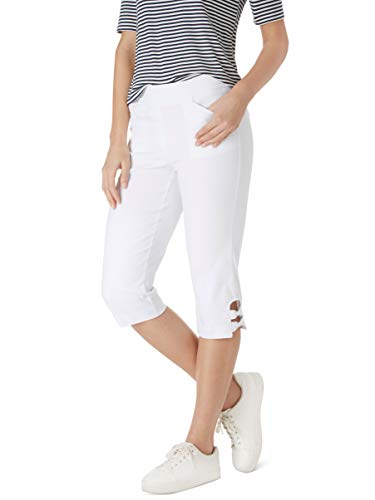 89th + Madison Women's Bow Trim Comfort Waist Capri Pants Bleached White