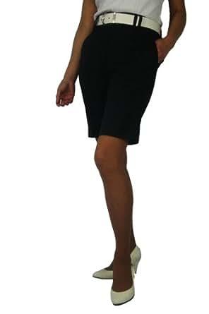 CaPantzzi Women's Stretch Flat Front Shorts- Black - 2