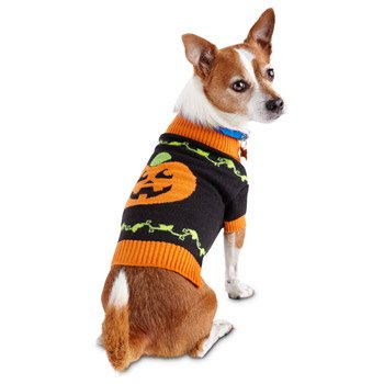 Wag-a-tude Happy Pumpkin Dog Sweater, XX-Small