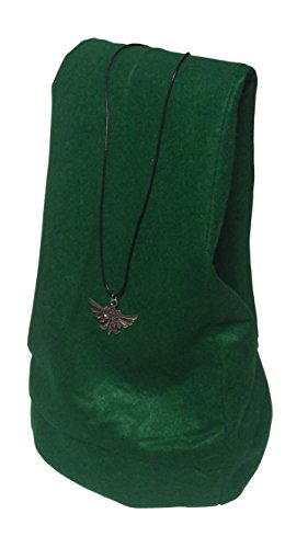 Niche-Finds Zelda Inspired Link Hat Tunic Cap for Adults and Young Adults + Free Hylian Crest Necklace