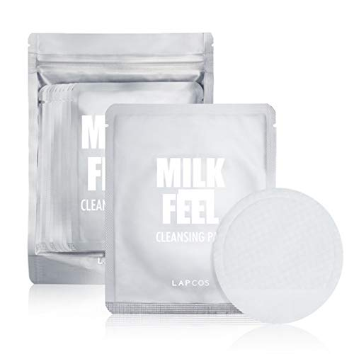 [LAPCOS] Milk Feel Cleansing Pad 7g Pack of 10 - 100 % Cotton Exfoliating Pad, Dead Skin Cells Care