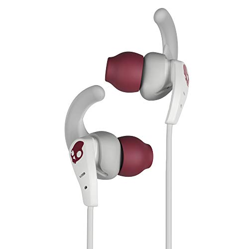 (Skullcandy Set in-Ear Sport Earbuds with Microphone, Sweat and Water Resistant, Secure Fit, Noise Isolating, Call and Track Control, White/Crimson)